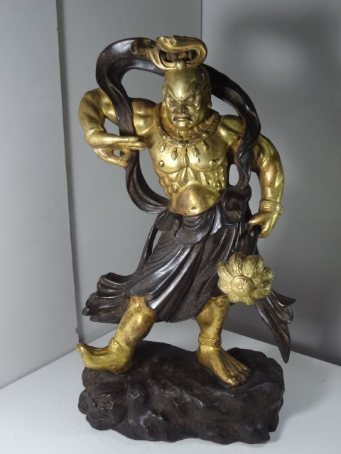 Exquisite & Rare Qing Dynasty Gilt Bronze Guardian King