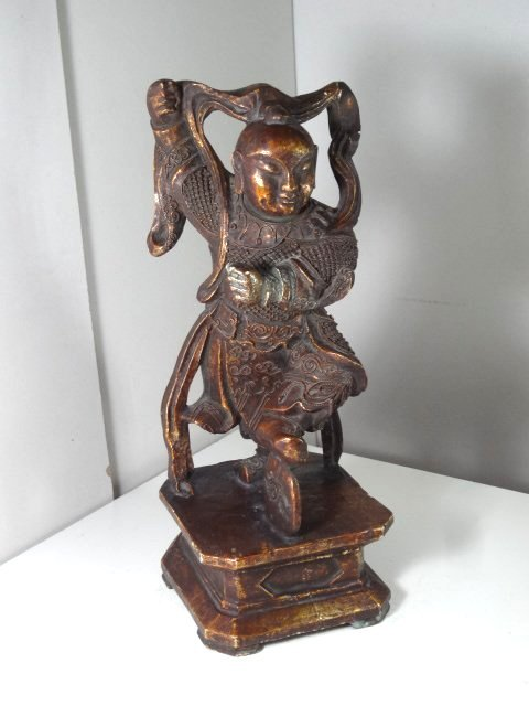 Rare Wood Sculpture of Mythical God of Na-zha with Gilt