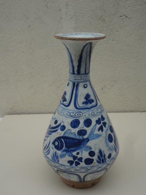 Rare Elegant Yuan Dynasty Fish and Seaweed Vase