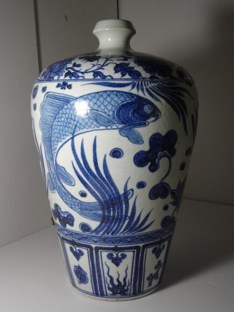 Magnificent Yuan Dynasty Fish & Lotus Meiping