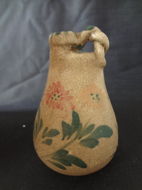 Rare Liao Dynasty Pouch Shape Vase with Floral Motif