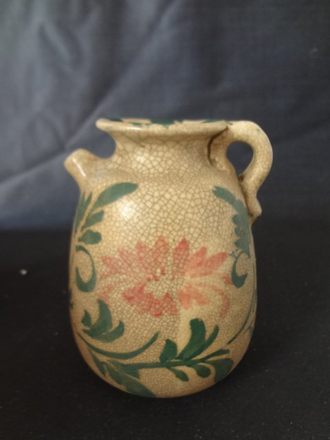 Rare Liao Dynasty Milk Jug with Red & Green Floral