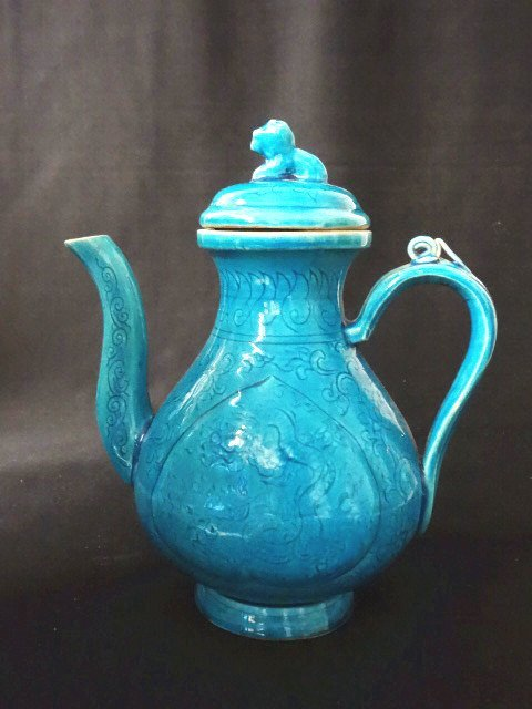 Important Ming Dynasty Xuande Period Turquoise Ewer
