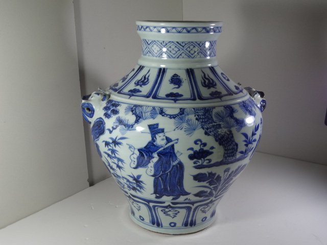 Important Yuan Dynasty Blue Guan with Drama Story