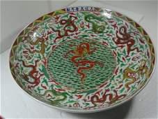 Rare Ming Dynasty Wanli Period Wucai Dragon Charger