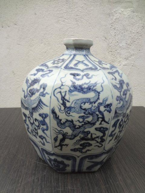 Rare Yuan Dynasty Octagonal Dragon Phoenix Vase