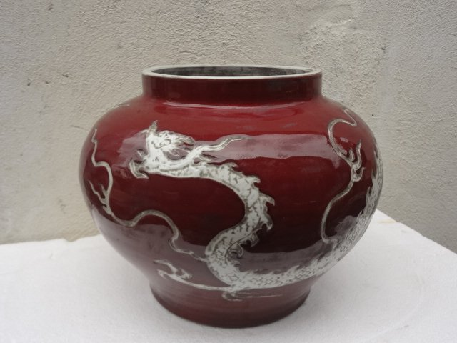 Elegant Yuan Dynasty Red Guan with White Dragon