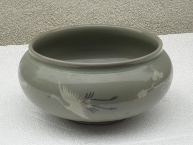 Rare Song Dynasty Celadon Water Basin with Swans