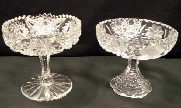 3: SET (4) PAIR AMERICAN BRILLIANT CUT GLASS COMPOTES