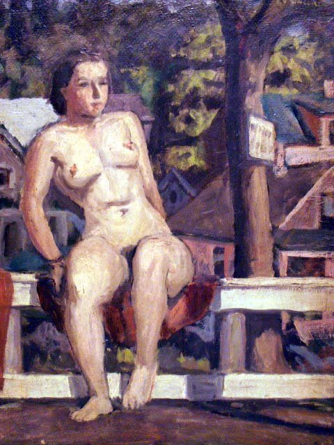 6: OIL ON MASONITE, NUDE STUDY IN VILLAGE LANDSCAPE