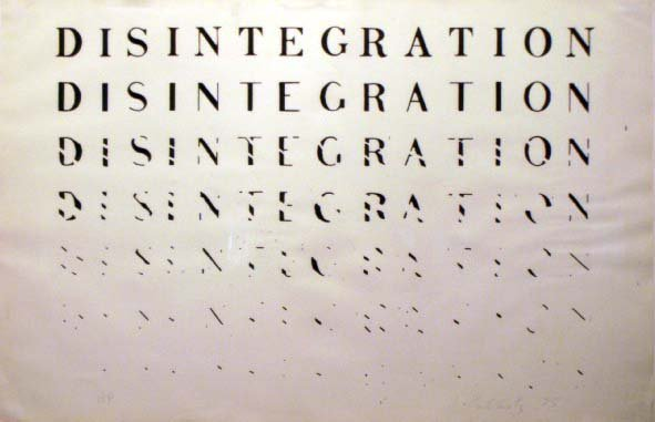 "7: LITHOGRAPH, """"DISINTEGRATION"""", SIGN R. KOSTELANETZ"