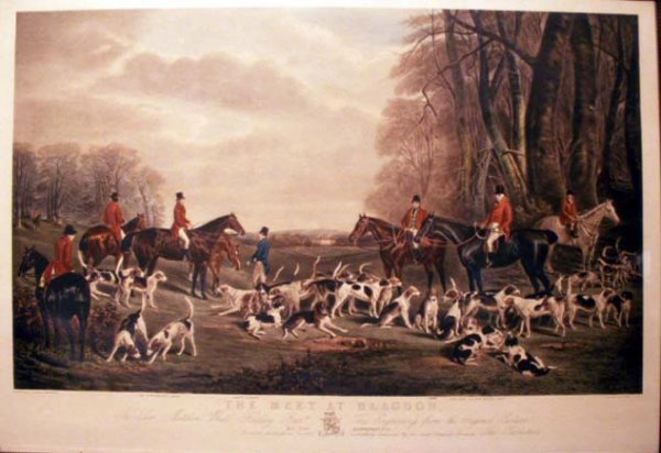 "8: COLORED ENGRAVING, """"THE MEET AT BLAGDON"""""