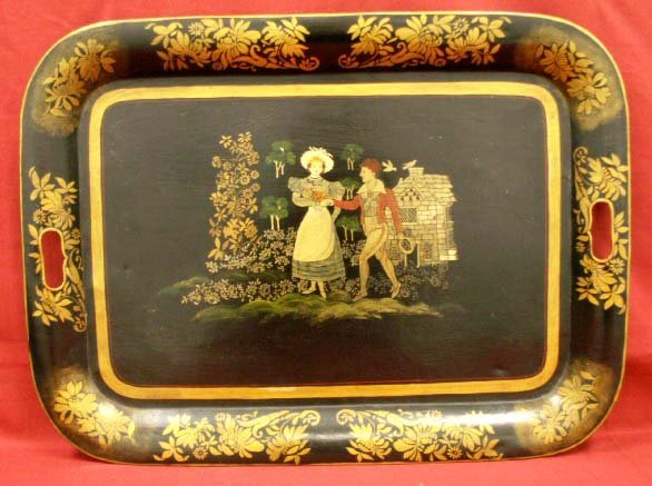 9: HAND DECORATED/STENCILED TOLEWARE TRAY