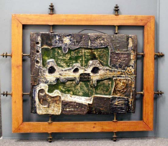 19: STONEWARE ABSTRACT PANEL, SIGNED MARIO SILVA