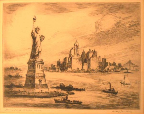"20: ETCHING, """"NEW YORK HARBOR 1909"""", LOWELL"