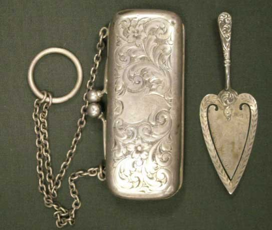 21: STERLING ENGRAVED MECHANICAL COIN PURSE/BOOKMARK
