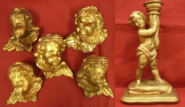 24: LOT (6) ASSORTED ITALIAN CARVED & GILT CHERUBS