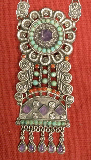 178: MEXICAN STERLING & HARDSTONE SET NECKLACE