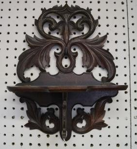 VICTORIAN CARVED WALNUT FOLDING WALL BRACKET SHELF,