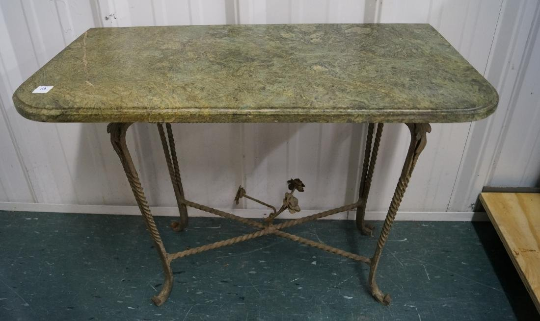 ITALIAN STYLE GILT DECORATED GREEN MARBLE-TOP SIDE
