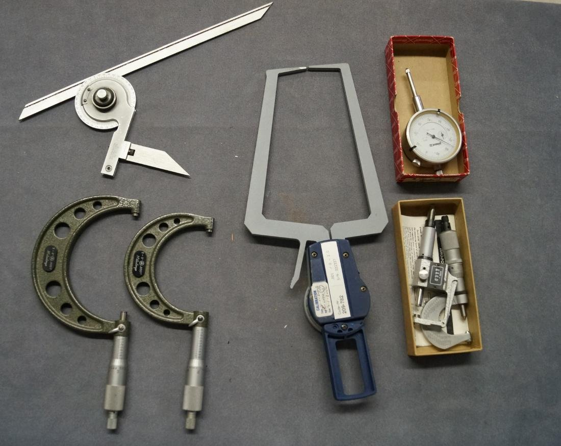 LOT (7) MEASURING DEVICES INCLUDING STARRETT ANGLE
