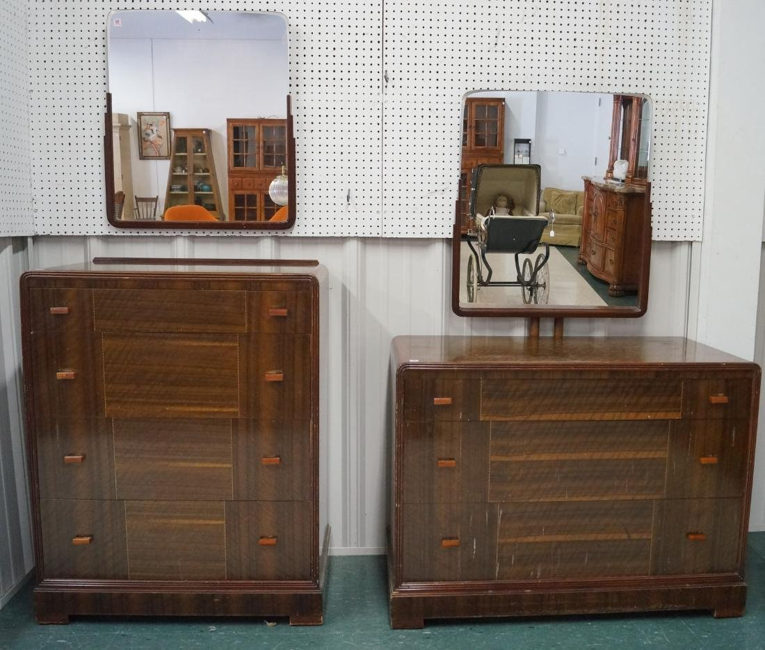 ART DECO INLAID WALNUT WATERFALL BEDROOM SUITE WITH