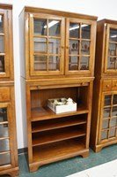 "COUNTRY STAINED 2-PART ROLL-TOP CABINET. HEIGHT 76 1/2"";"