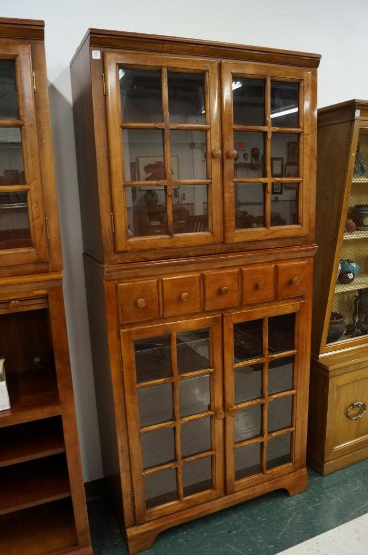 """COUNTRY STAINED 2-PART CABINET. HEIGHT 76 1/2""""; WIDTH"""