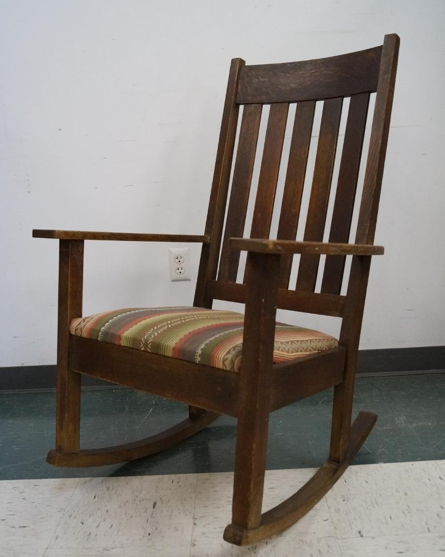 ANTIQUE STICKLEY/LIMBERT STYLE OAK ROCKING CHAIR WITH
