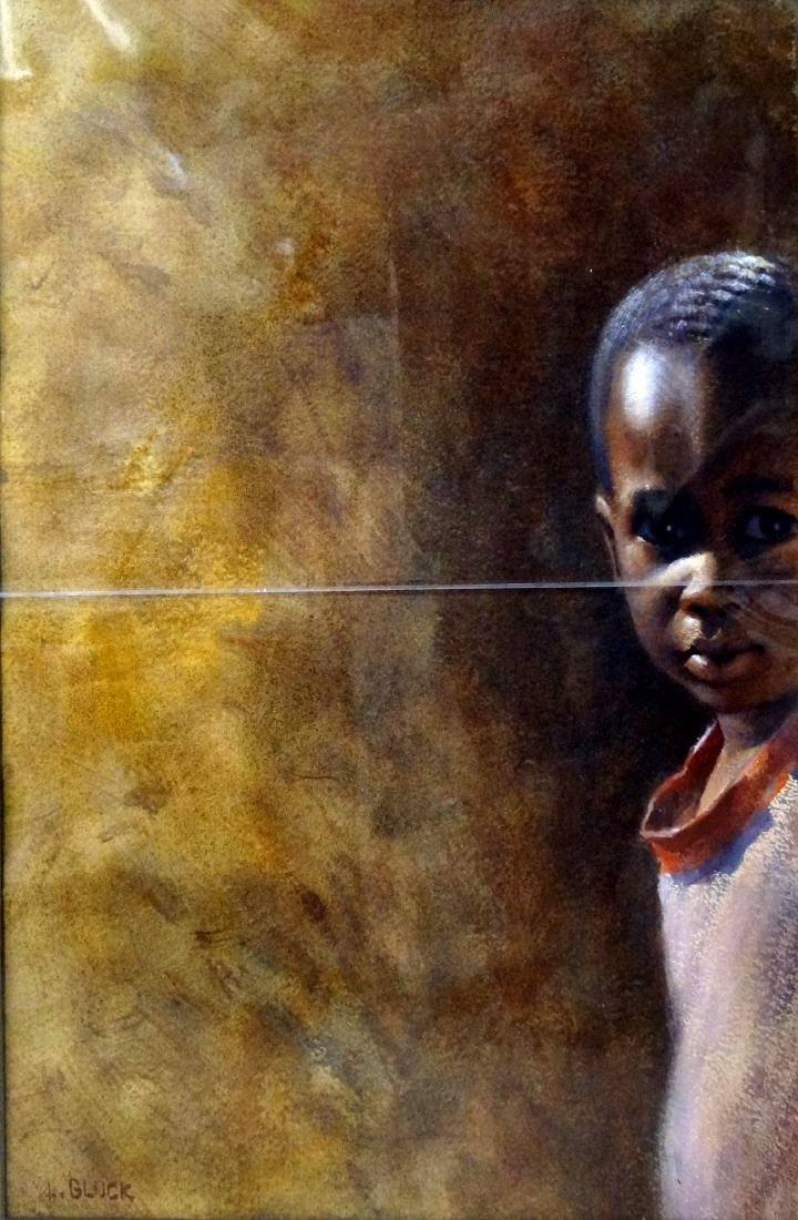 LARRY GLUCK (AMERICAN 1931-), WATERCOLOR, YOUNG BOY,