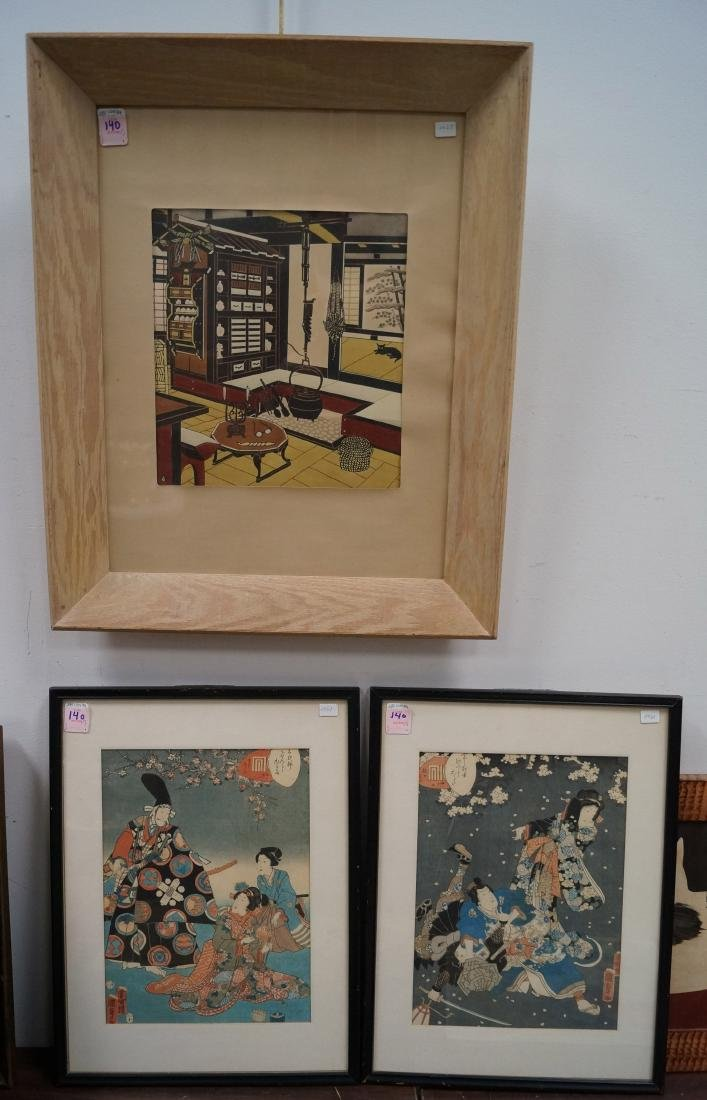 LOT (3) ASSORTED JAPANESE WOODBLOCK PRINTS. FRAMED AND