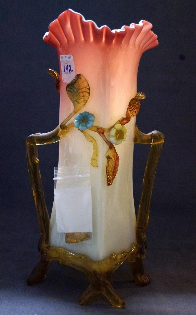 VICTORIAN PINK OPALINE CASE GLASS VASE WITH AMBER