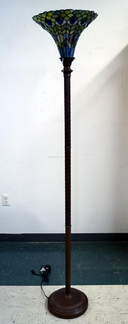 TIFFANY STYLE LEADED GLASS FLOOR LAMP. HEIGHT 72""