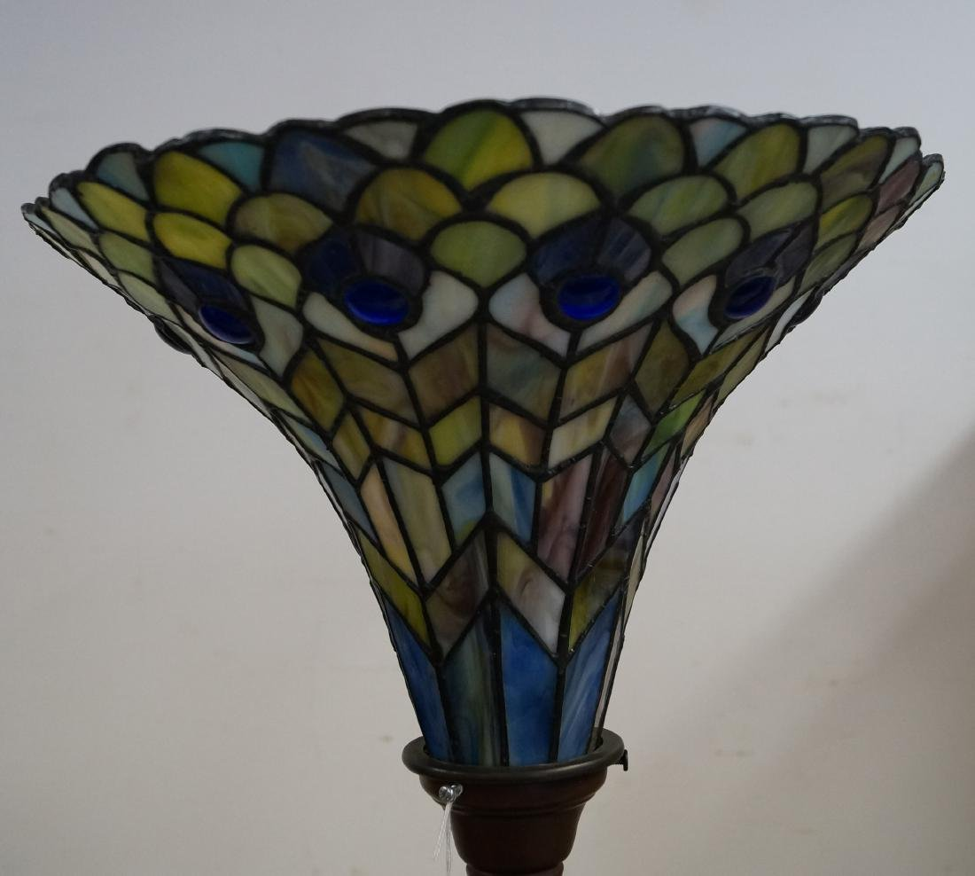 "TIFFANY STYLE LEADED GLASS FLOOR LAMP. HEIGHT 72"" - 2"