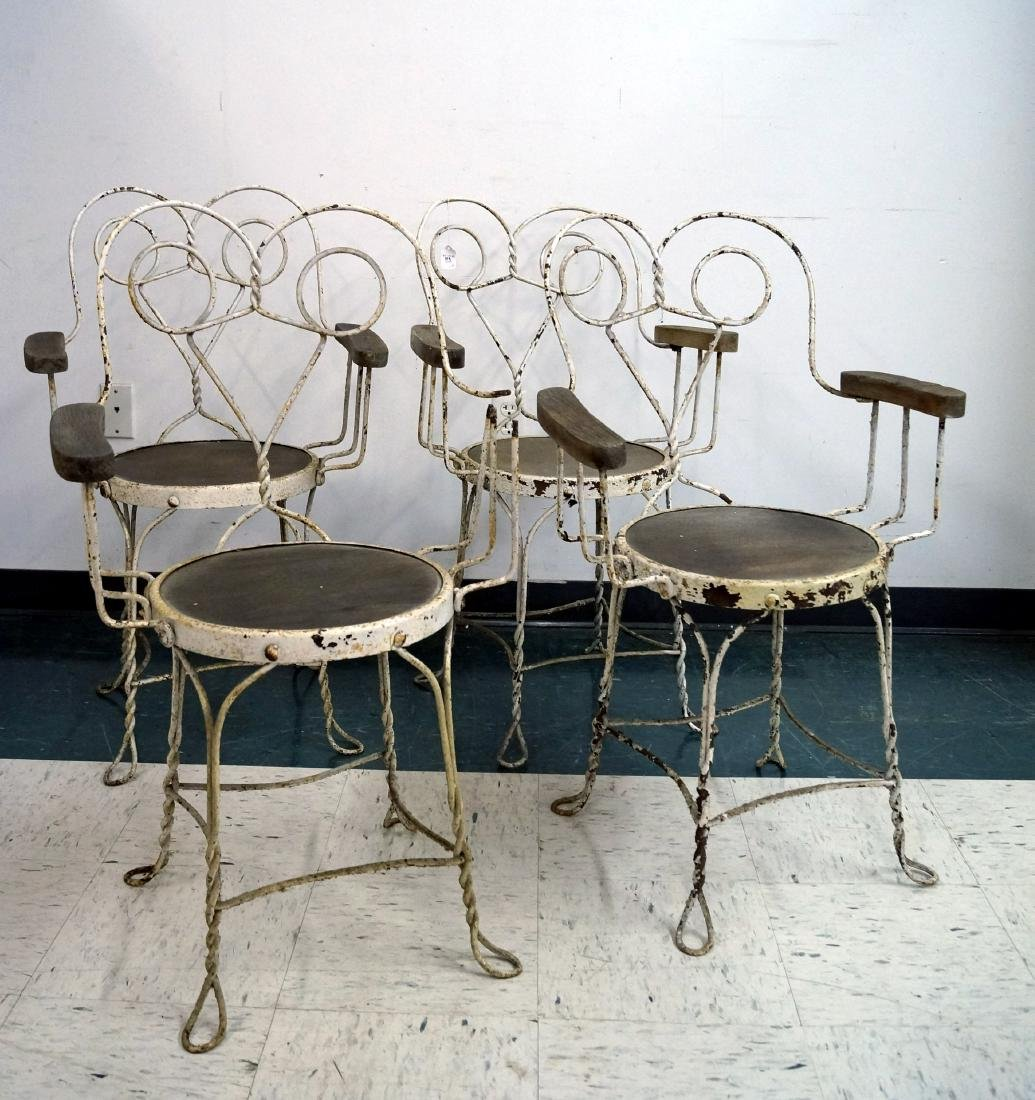 SET (4) WROUGHT IRON VINTAGE ICE CREAM PARLOR CHAIRS