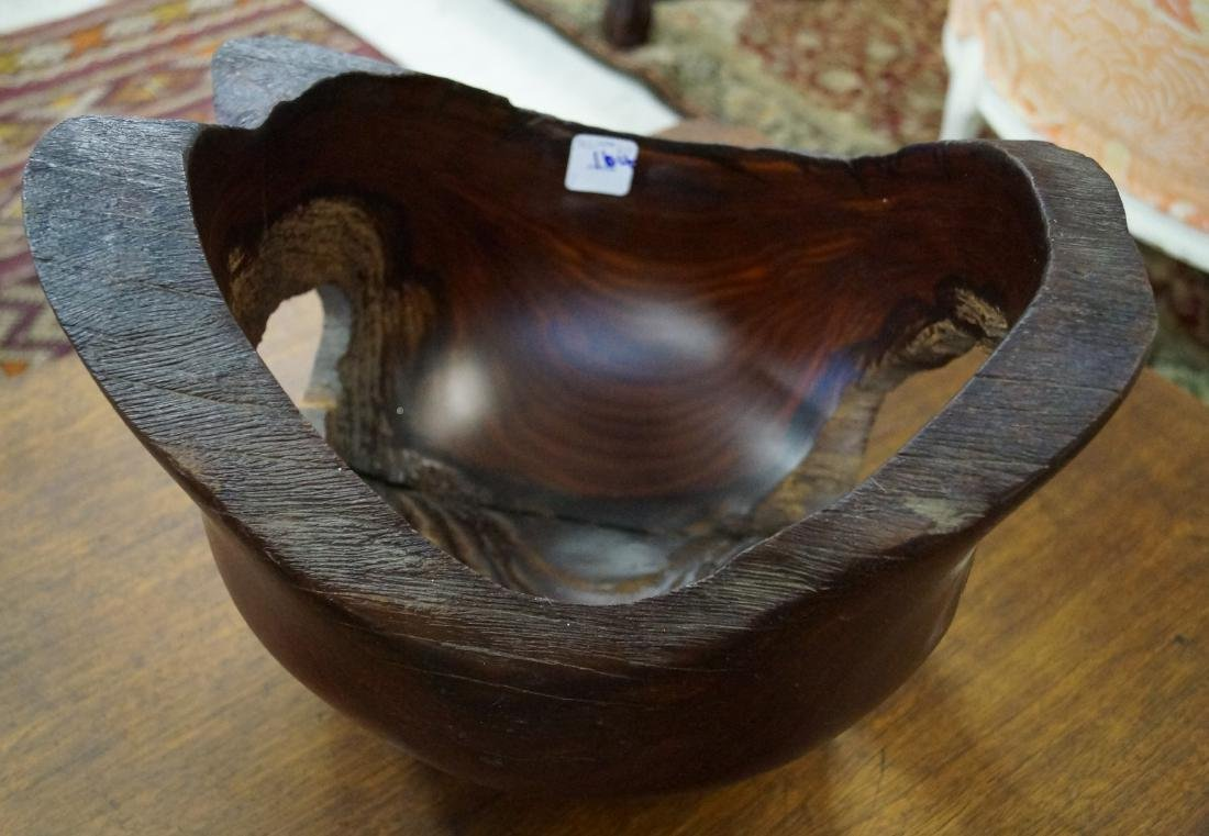 MODERN CARVED LIVE EDGE FREE FORM ROSEWOOD BOWL. HEIGHT