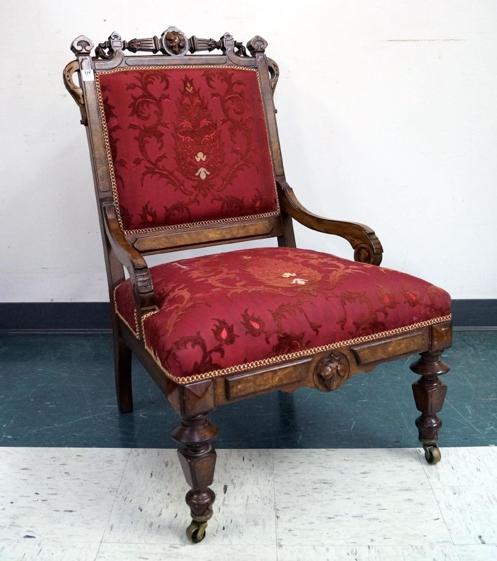 VICTORIAN CARVED WALNUT SIDE CHAIR, 19TH CENTURY