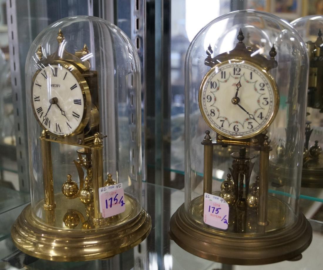 LOT (2) KUNDO & WELBY BRASS ANNIVERSARY CLOCKS, C.1960.