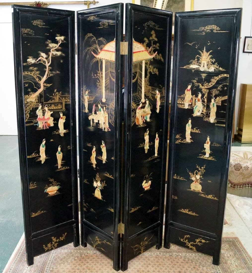 CHINESE LACQUER AND HARD STONE MOUNTED 4-PANEL SCREEN.