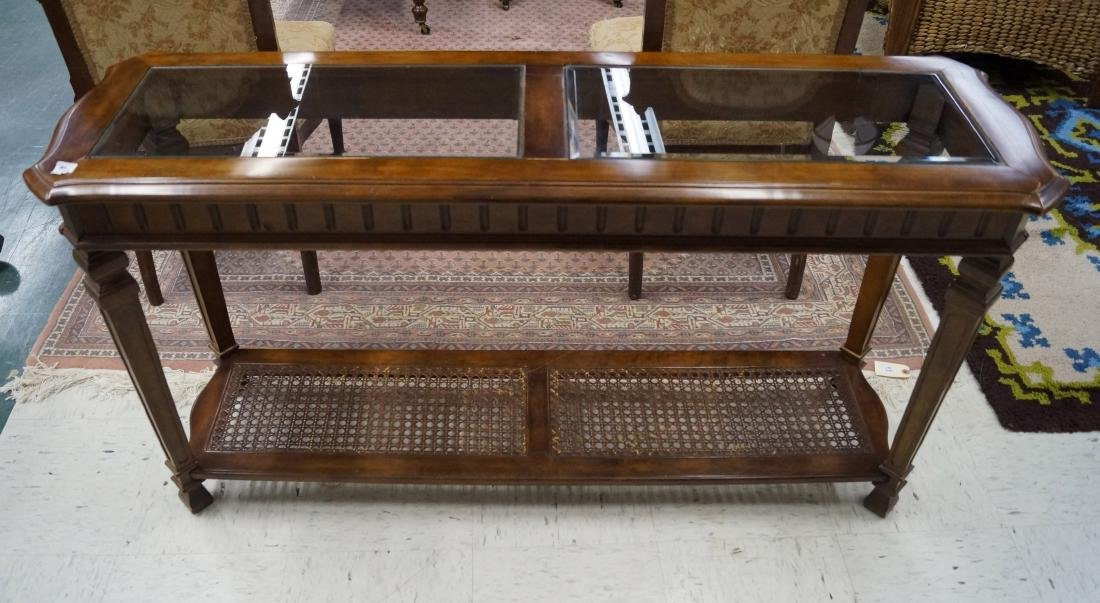 VINTAGE WALNUT CONSOLE TABLE WITH GLASS TOP AND WICKER
