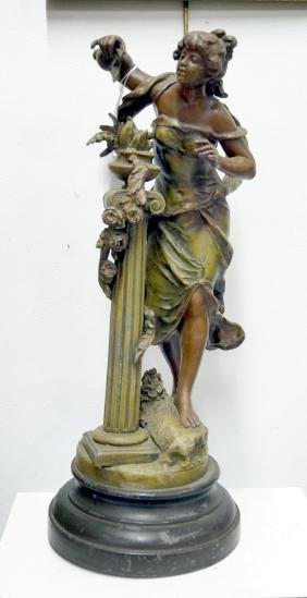 VICTORIAN PAINTED POT METAL FIGURE OF A GIRL, AFTER AUG