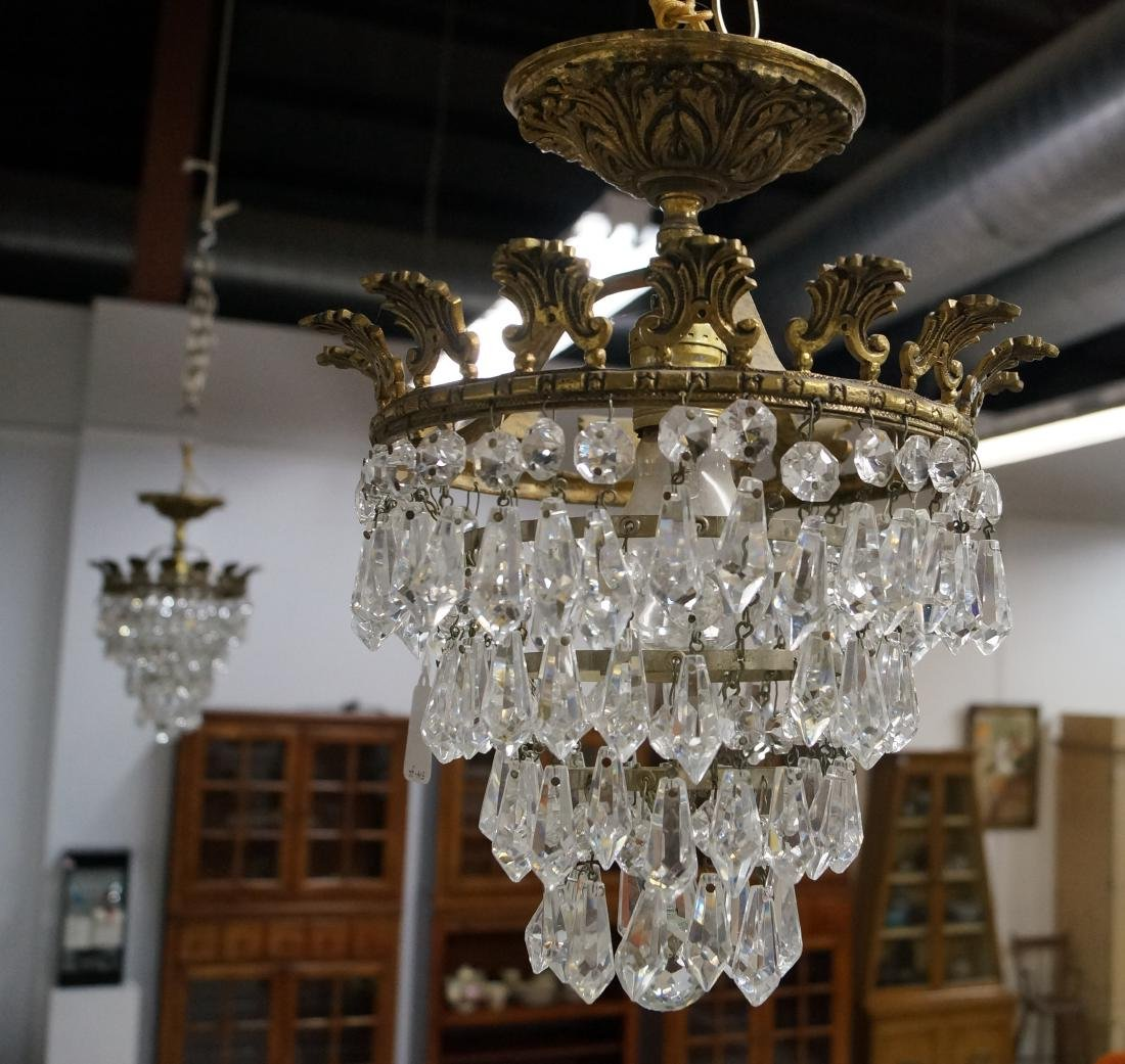 PAIR FRENCH STYLE CRYSTAL CEILING FIXTURES. HEIGHT 16""