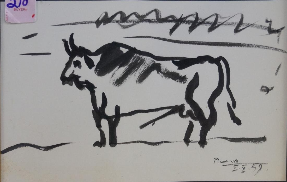 AFTER PICASSO, INK ON PAPER, BULL, SIGNED AND DATED