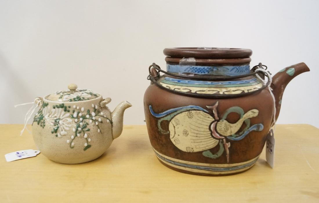LOT (2) JAPANESE POTTERY TEA POTS, 19/20TH CENTURY.