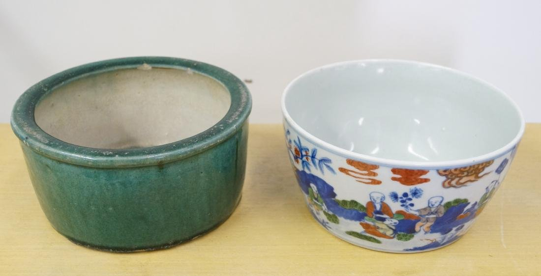 LOT (2) CHINESE DECORATED PORCELAIN INCLUDING BOWL WITH