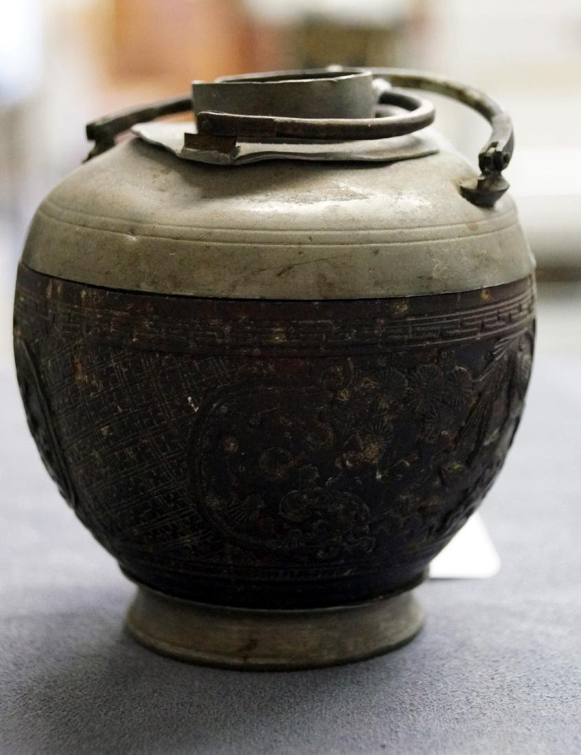 CHINESE CARVED COCONUT TEAPOT WITH PEWTER MOUNTS, 19TH