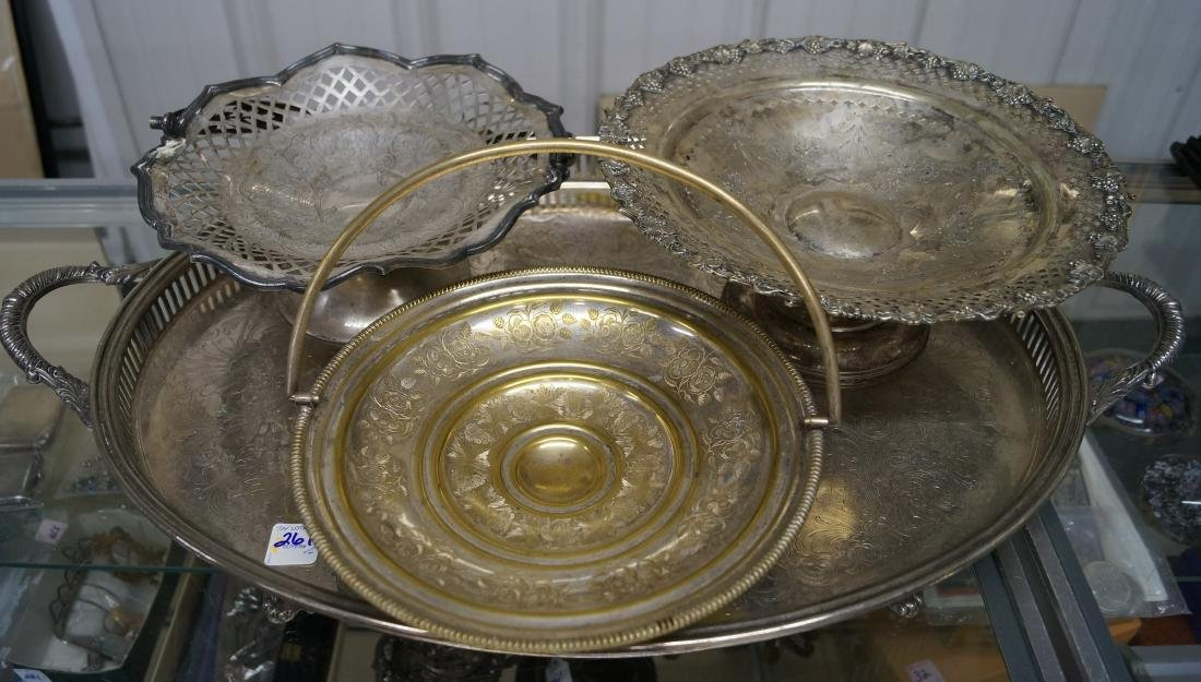 LOT (4) SILVER PLATE INCLUDING (2) BRIDE'S BASKETS,