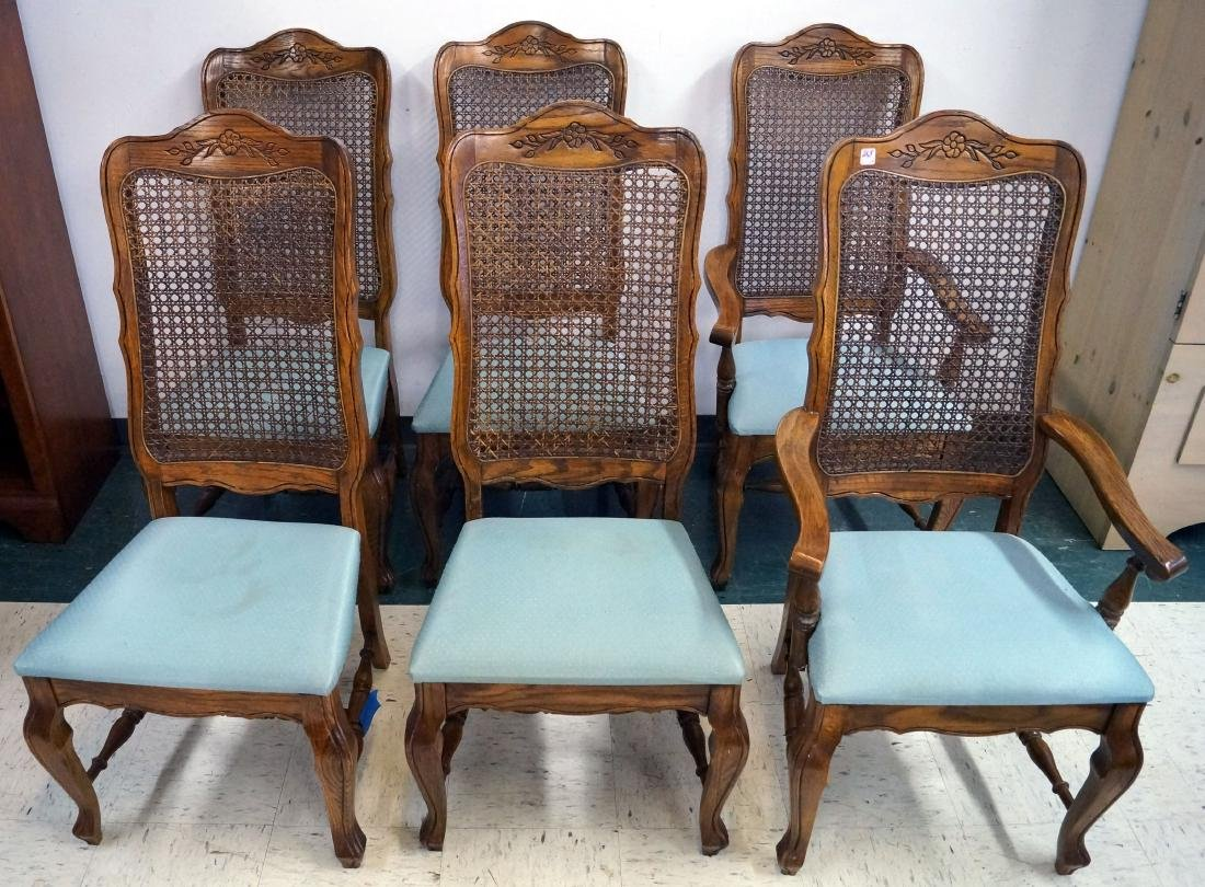 SET (6) COUNTRY FRENCH OAK DINING CHAIRS