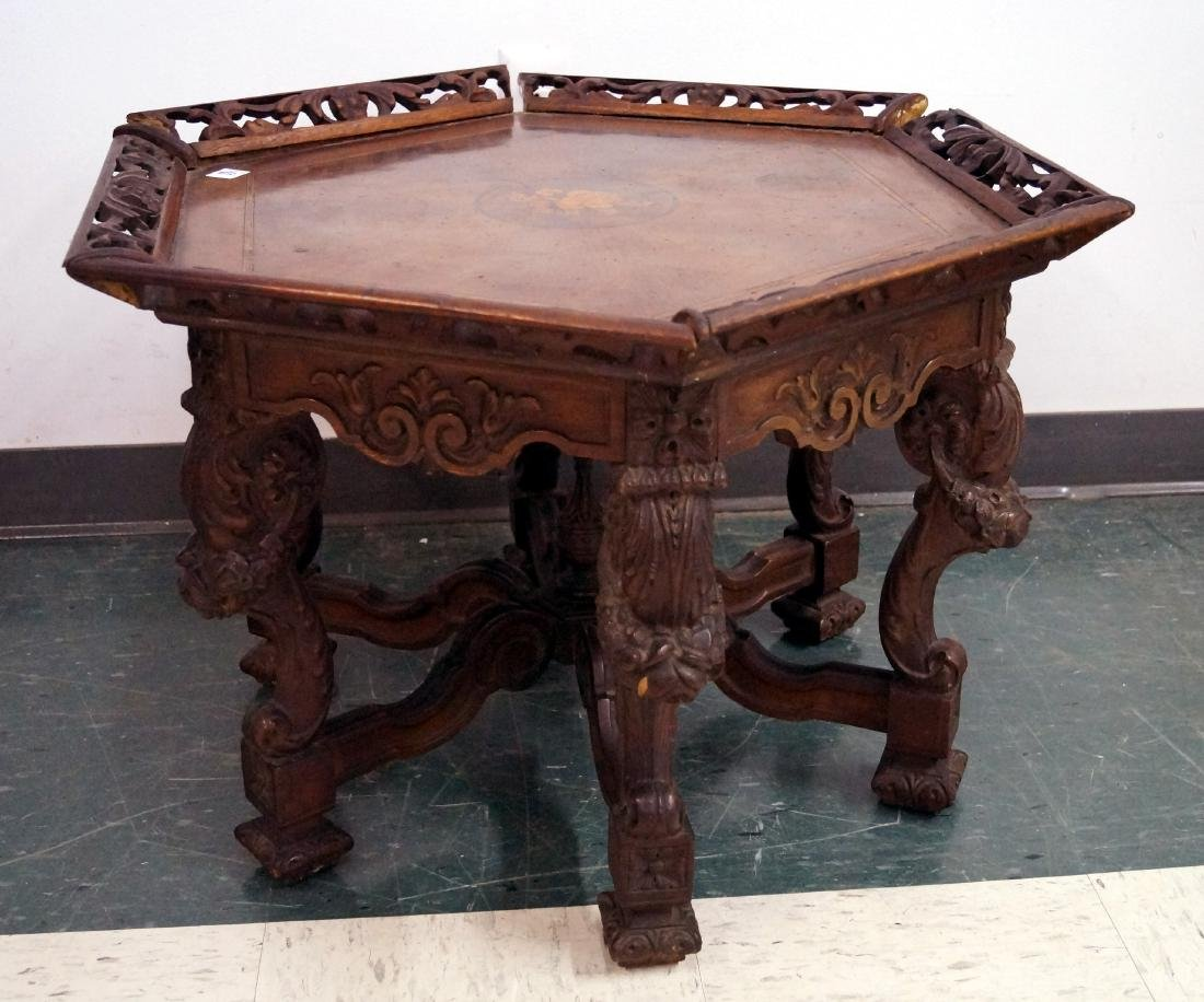 RENAISSANCE REVIVAL CARVED HEXAGONAL LOW TABLE WITH