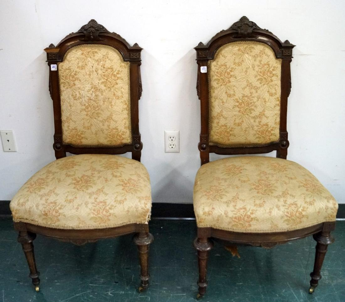 PAIR EASTLAKE CARVED WALNUT UPHOLSTERED SIDE CHAIRS